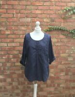 Fat Face Navy Blue Tunic Top Long Sleeved Blouse Size 14 B10