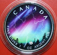 Kanada 5 Dollars 2018 1 Unze Silber ST-BU Maple Leaf  Colored #F3481 nur 999 St