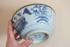 + Ancien grand bol chinois - blanc bleu - signé à voir (accidents) +