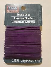 """ArtMinds Suede Lace.125"""" by 8 yd /3mm x 7m Carded, Purple."""