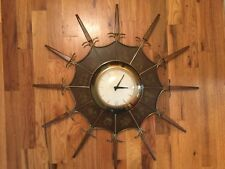 Vintage United Zodiac Wall Clock Sunburst Star Burst Retro Runs & Keeps Time