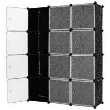 Mobile armadio 12 scomparti NERO Scaffale armadietto modulare scaffalatura