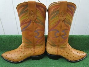 VINTAGE DAVID'S CUSTOM MADE FULL QUILL OSTRICH RARE EXOTIC WESTERN BOOTS 7.5 C