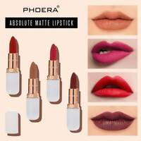PHOERA Waterproof Matte Lipstick 12 Colors Long Lasting Lip Gloss Women Makeup
