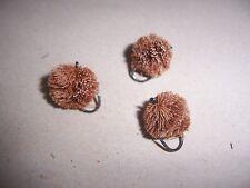 3 x BARBLESS Brown ROUND Dog Biscuit Deer hair flies size 10 by Salmoflies