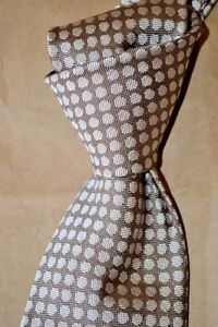 "$245 NWT TOM FORD Tan w/ beige polka dots 3.75"" men's heavy woven SILK tie Italy"