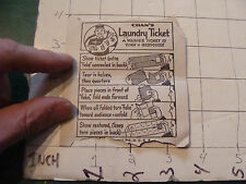 vintage CARD circa 1950's trick ---card only---: CHAN'S LAUNDRY TICKET paper onl