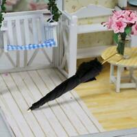 1Pc Mini Black Umbrella For 1:12 Miniature Dollhouse Decoration : Room A5C1