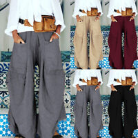 UK Womens Oversized Elastic Waist Wide Legged Palazzo Pants Baggy Loose Trousers