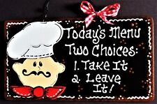 Fat Chef Today's Menu Kitchen Sign Bistro Style Cucina Wall Art Plaque Decor