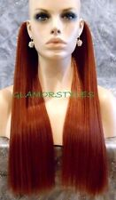 "18"" RED/BROWN FLIP IN SECRET CLEAR WIRE HAIR PIECE EXTENSIONS  NO CLIP IN/ON"