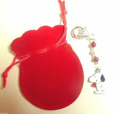 Snoopy esmalte encanto colgante con corazón rojo bolso encanto romántico Regalo + Bolsa Roja