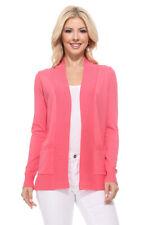 Yemak Women's Long Sleeve Open Front Knit Sweater Cardigan Shrug with Pocket