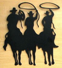 "3 Cowboy Silhouette On Sheet Metal & Painted Black 10x12"" Western Style Decor"