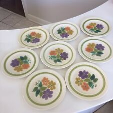 "Eight (8) Franciscan Earthenware Floral Pattern 8 1/2"" Salad Plates 1970s"