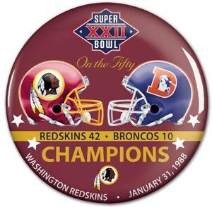 Washington Redskins Super Bowl 22 XXII Champions Button SB 50 Commemorative Set