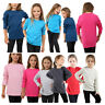 KIDS GIRLS BOYS *LONG SLEEVE* TEE T SHIRT FIT PE PLAIN TOP TOPS VEST *CREW NECK*