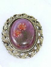 Vintage Dried Flowers Set In Resin/Lucite Antiqued Goldtone Cameo Brooch Pendant
