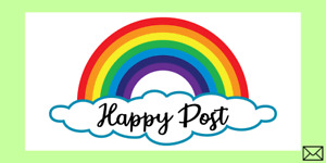650 - Rainbow Happy Post Stickers / Lables ON A4 SHEETS