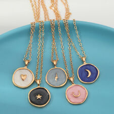 Rose Gold Oil Drop Women Simple Stars Moon Heart Round Pendant Necklace Jewelry