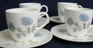 """Wedgwood Ice Rose FOUR COFFEE CUPS and SAUCERS 2 1/2""""  VGC"""
