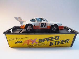 RARE AURORA SPEED STEER AFX PORSCHE 934 TURBO WHITE/ORANGE #81 BOXED HO SLOT CAR