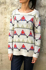 PEACE DOVE Vtg 80s Skiing Union Jack Flag England Knitted Sweater Top Jumper L