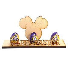 Happy Easter Minnie Creme 1,2 or 3 Egg Holder Gift Freestanding Wooden MDF