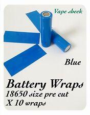 Envolturas De Batería Azul X 10 Piezas Pvc Manga Termocontraíble Pre Corte 18650