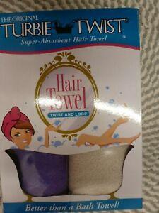 TURBIE TWIST~SUPER-ABSORBENT~TWIST & LOOP~2 PACK PURPLE &  OFF WHITE