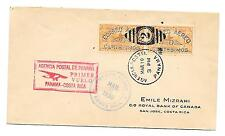 F5-37 Panama Foreign Airmail First Flight Cover to Costa Rica w/color variety