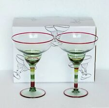 Margarita Glasses 2 pc Set NEW Hand Blown Lt Green Glass Hand Painted Design