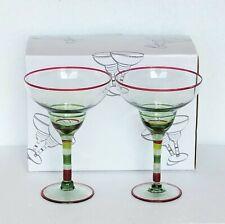 New listing Margarita Glass Set New 2 pc Hand Blown Light Green Glass Hand Painted