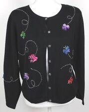 Jack B Quick Sweater Medium Black Cardigan Whimsical Ribbon Butterflies Beaded