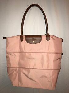 "Longchamp Le Pliage Expandable Tote Neo Nylon Pink 15 3/4 Hx 11 3/4""W x 7.""D"