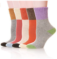 Beauttable Mens Heavy Thick Warm Super Soft Comfort Wool Crew Casual Winter Socks 5-Pack Mixed Colors Cushion Dress Ankle