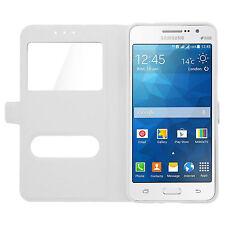 Housse Etui Coque Pochette View Case Blanc pour Samsung Galaxy J7