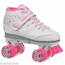Roller Derby Sparkles Kids/Girls Pink Quad Roller Skates Light up wheels US 2