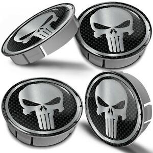 4x 60mm Silver Skull Wheel Center Hub Centre Caps Compatible for Citroen 5421.70