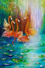 Flamingo Oil Painting On Canvas, Flamingo Wall Art, Animal Painting
