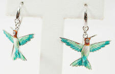 Nicole Barr Sterling 925 Hand Enameled Humming Bird Design Earrings