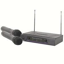 QTX VH2 Dual Handheld VHF Wireless Microphone System 173.8 - 174.8 MHz + Case