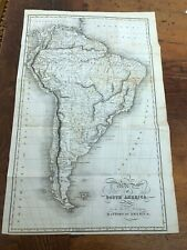 original 1821 map of south america ! for rev dr robertsons history of america