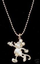 "Mickey Mouse Vintage Style Disney Neckace Silver Plate 19"" BallChain"