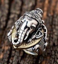 HINDU LORD GANESH 925 STERLING SILVER RING Sz 11 NEW ELEPHANT INDIA
