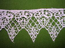 """Vintage Venise Lace Trim Linen Satin Rayon White Applique  2"""" x 4.5 yds #1403a"""