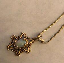 "Vintage 14K Yellow Gold Opal Pendant Necklace 15"""