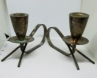"""Vintage Pair Mid Century Modernist Mexico Silver Candle Holders ~ 6 1/4"""""""