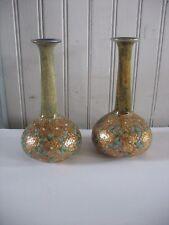 """Vtg Royal Doulton Slater Pair Gold Gilded enamel Ceramic Vases 6 3/4"""" c1900-1920"""