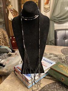 Black Jet Glass Metal Hematite And Leather Wrap Around Necklace